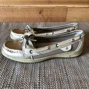 Sherry Top-Sider Gold chrome boat shoes [N2140]